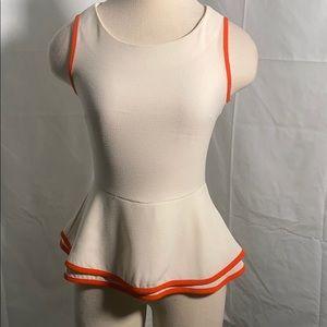 Bar III cream fit and flare peplum sleeveless S